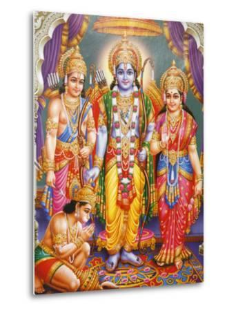 Picture of Hindu Gods Laksman, Rama, Sita and Hanuman, India, Asia