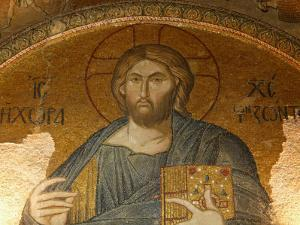 Roof Mosaic of Christ the Pantocrator, Church of St. Saviour in Chora, Istanbul, Turkey, Europe by Godong