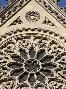 Rose Window on South Facade, Notre Dame Cathedral, Paris, France, Europe by Godong