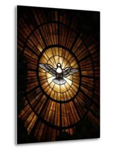 Stained Glass Window in St. Peter's Basilica of Holy Spirit Dove Symbol, Vatican, Rome, Italy by Godong