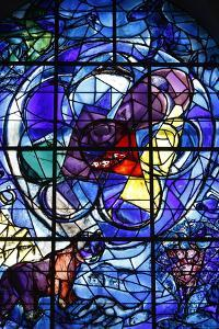 Stained glass window in the Synagogue of the Hadassah hospital showing the Tribes of Israel by Godong