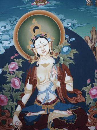 Thangka Depicting White Tara Goddess, Buddhist Symbol of Long Life, Bhaktapur, Nepal, Asia by Godong