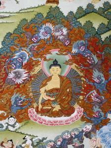 Thangka Painting of the Buddha Sakyamuni Surrounded by Temptation, Bhaktapur, Nepal, Asia by Godong