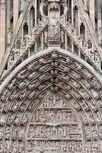 The Passion of our Lord on the western facade of Our Lady of Strasbourg Cathedral by Godong