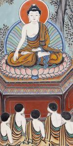 Wall painting depicting scenes from the Life of the Buddha, Seoul, South Korea by Godong