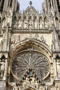 West front of Reims cathedral, Reims, Marne, France by Godong