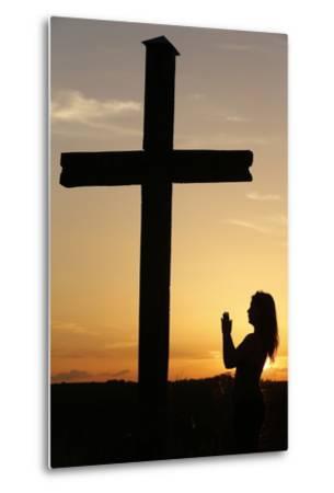 Woman Praying at Sunset, Cher, France, Europe