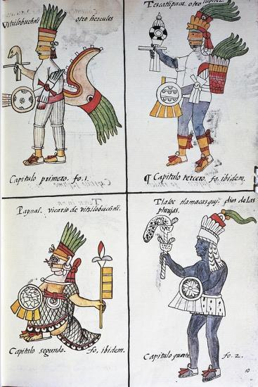 Gods of Ancient Mexicans, Huitzilopochtli, Tezcatlipoca, Tlaloc and Paynal, Text in Spanish--Giclee Print