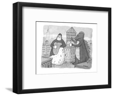Godzilla, King Kong, and a giant worm gather around a water tower that is ? - New Yorker Cartoon-Jason Patterson-Framed Premium Giclee Print