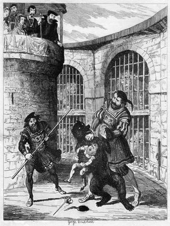 Gog Extricating Xit from the Bear in the Lions' Tower, 1840-George Cruikshank-Giclee Print