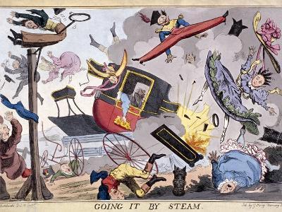 Going it by Steam, (1829)-Robert Seymour-Giclee Print