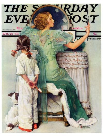 """""""Going Out"""" Saturday Evening Post Cover, October 21,1933-Norman Rockwell-Giclee Print"""