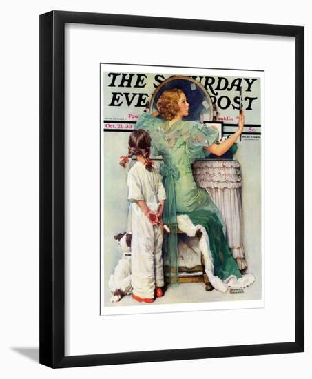 """""""Going Out"""" Saturday Evening Post Cover, October 21,1933-Norman Rockwell-Framed Giclee Print"""