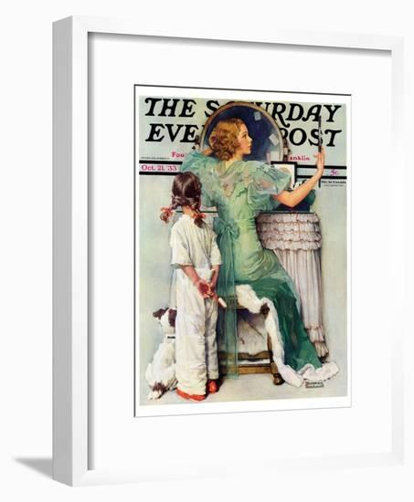 """Going Out"" Saturday Evening Post Cover, October 21,1933-Norman Rockwell-Framed Giclee Print"