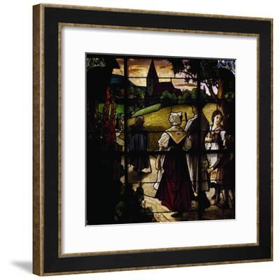 Going to Mass, 1909, Stained-Glass Window by German Masters in German Church--Framed Giclee Print