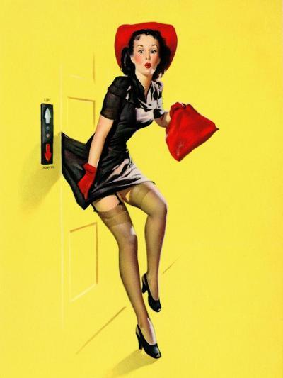 """Going Up"" Retro Pin-Up Girl with Dress Caught in Elevator by Gil Elvgren-Piddix-Art Print"