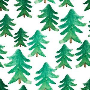 Background of Christmas Tree. Christmas Tree Seamless Pattern. Winter Watercolor Landscape. Waterco by golant