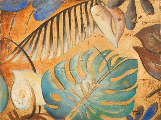 Gold and Aqua Leaves I-Patricia Pinto-Premium Giclee Print