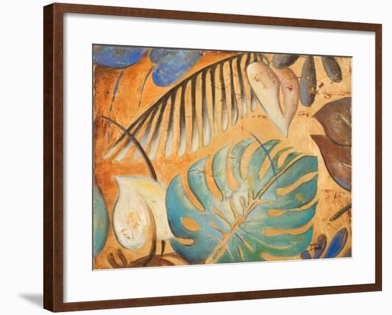 Gold and Aqua Leaves I-Patricia Pinto-Framed Premium Giclee Print