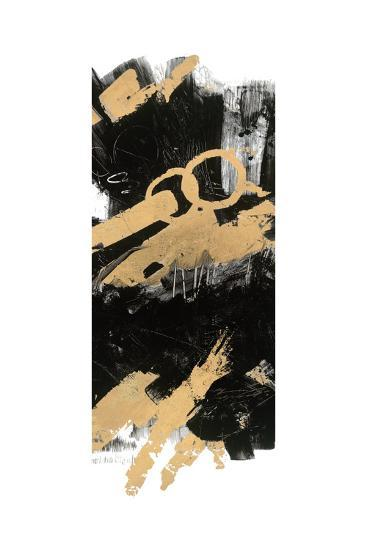 Gold and BlackAbstract Panel I-Mike Schick-Art Print