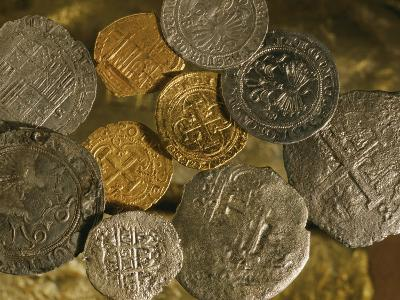 Gold and Silver Coins Minted in Both Spain and the Colonies-Ira Block-Photographic Print