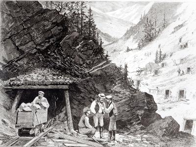 Gold and Silver Mining, Colorado - a Honey-Combed Mountain, from Drawing by Frenzeny and Tavernier--Giclee Print