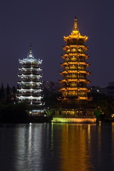 Gold and Silver Pagoda Evening Light, Guilin, China-Darrell Gulin-Photographic Print