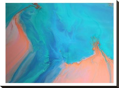 Gold & Aqua Marble-Deb McNaughton-Stretched Canvas Print
