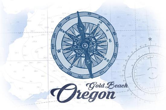 Gold Beach, Oregon - Compass - Blue - Coastal Icon-Lantern Press-Art Print