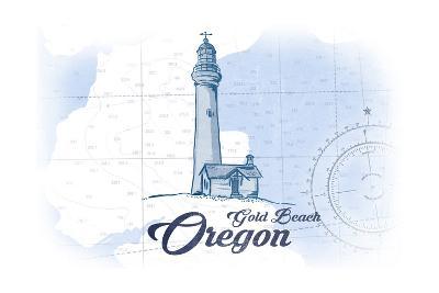 Gold Beach, Oregon - Lighthouse - Blue - Coastal Icon-Lantern Press-Art Print