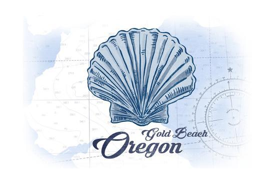 Gold Beach, Oregon - Scallop Shell - Blue - Coastal Icon-Lantern Press-Art Print