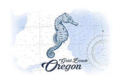 Gold Beach, Oregon - Seahorse - Blue - Coastal Icon-Lantern Press-Art Print