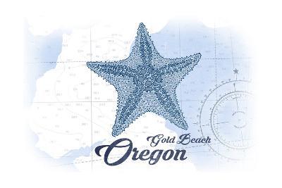 Gold Beach, Oregon - Starfish - Blue - Coastal Icon-Lantern Press-Art Print