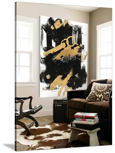 Gold Black Abstract Panel I-Mike Schick-Loft Art