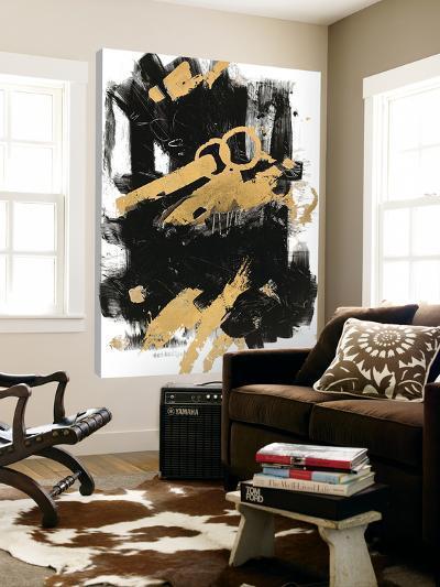 Gold Black Abstract Panel I-Mike Schick-Loft Art