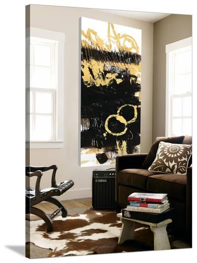 Gold Black Abstract Panel III-Mike Schick-Loft Art