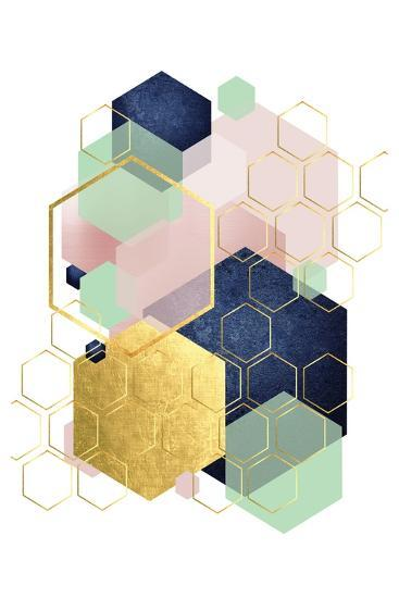 Gold Blush Navy Mint Hexagonal-Urban Epiphany-Art Print