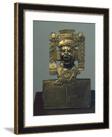 Gold Breastplate Depicting the God Xiuhtecuhtli. Artifact Originating from Zaachila--Framed Giclee Print