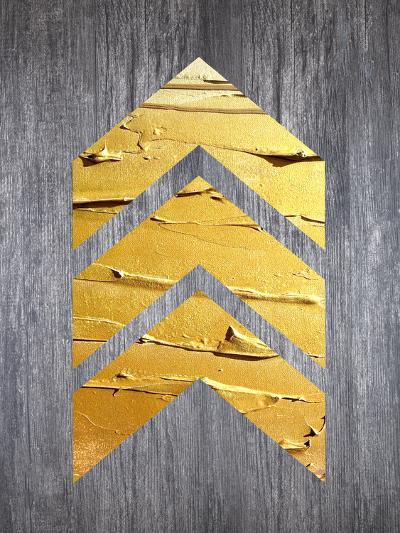 Gold Chevrons Wood--Art Print