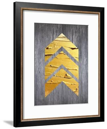 Gold Chevrons Wood--Framed Art Print