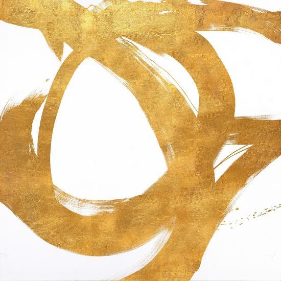 Gold Circular Strokes I-Megan Morris-Art Print