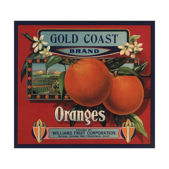 Gold Coast Brand - San Francisco, California - Citrus Crate Label-Lantern Press-Art Print