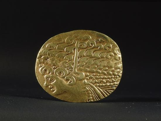 Gold coin belonging to the Ambiani, from the north of Gaul, 2nd century BC-Werner Forman-Giclee Print