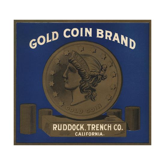 Gold Coin Brand - California - Citrus Crate Label-Lantern Press-Art Print