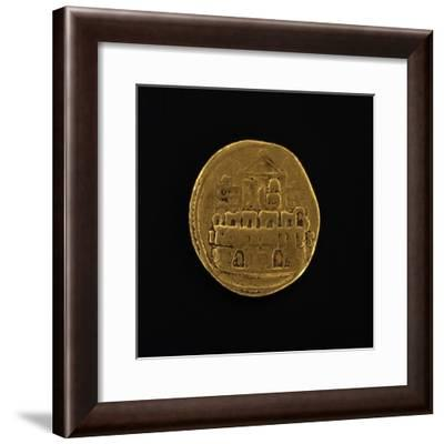 Gold Coin Depicting Military Camp, Issued by Julius Caesar, Roman Coins BC--Framed Giclee Print