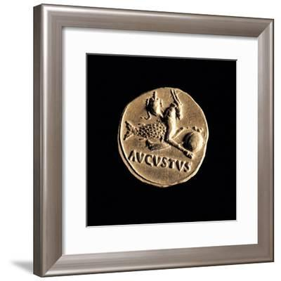 Gold Coin of Augustus Aureus, 18-16 A.D. Ancient Roman coin. Palazzo Massimo, Rome, Italy--Framed Art Print
