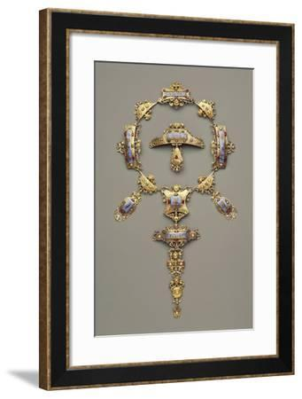 Gold Demi Parure Set with Pearls, Rubies and Emeralds, 1880-1900--Framed Giclee Print