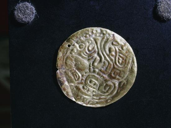 Gold disc embossed with feline images, probably made as an applique piece for a costume-Werner Forman-Giclee Print