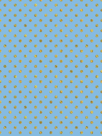 Gold Dots On Blue Patterns-Grab My Art-Art Print