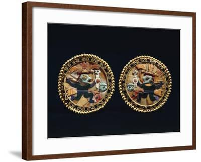 Gold Earrings Decorated with Lapis Lazuli and Shell Mosaic Depicting Warriors--Framed Giclee Print